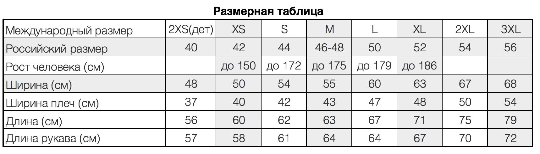 размерная таблица теплых толстовок